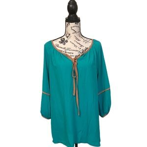 Melody Tam Jade teal tunic blouse large